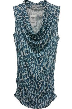 $22.50 Original Tags! Rayon Cowl Neck Top from Charlotte Russe in Teal Cheetah Print!