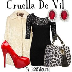 disney inspired outfit-Cruella De Vil (LOVE the dress! Disney Couture, Disney Bound Outfits, Disney Dresses, Disney Clothes, Moda Disney, Style Disney, Disney Inspired Fashion, Disney Fashion, Cruella Deville