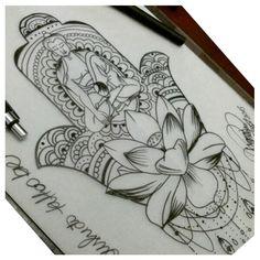 Art By @araninchaves #Hamsa #Buda #Flor de #Lotus #Adornos