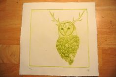 Owl Totem  Drypoint Intaglio Print OOAK  Yellow by UnnaturalNature