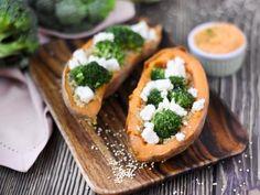 Recette de Patate douce farcie quinoa et brocoli