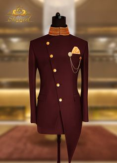 Indo Western Bespoke Prince Suit Premium Quality Self Motive with Antique Brass Buttons by Shameel Khan Inbox us or 📞 for pricing and Free Designer's Appointment. Exclusively available for orders at Shameel Khan African Shirts For Men, African Dresses Men, African Attire For Men, African Clothing For Men, Latest African Fashion Dresses, Mens Clothing Styles, Sherwani For Men Wedding, Wedding Dresses Men Indian, Wedding Dress Men