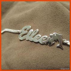 Wunderschöne Geschenkidee für Delfin-Liebhaber!  #Namensarmband mit #Delfin, 925er #Silber mit 1 #Zirkonia, bis 9 Buchstaben. NEU
