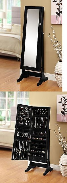 Multi-Purpose 168165: Black Mirrored Jewelry Cabinet Amoire W Stand Mirror Rings Necklaces Bracelets -> BUY IT NOW ONLY: $119.17 on eBay!