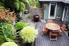 Small Backyard Gardening Ideas With Wooden Deck And Patio - Patio Garden Design Ideas Small Gardens