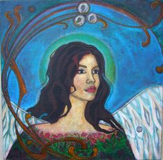 Guardian Angel Painting Portrait Angel of the by AuthenticJalopy