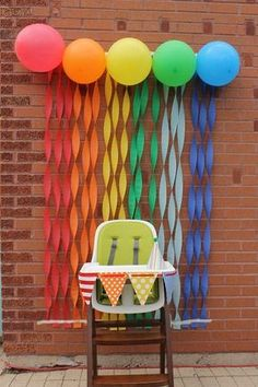 Fiesta Theme Party Discover The Big ONE: Sweet First Birthday Ideas Great idea to create a background for those hundreds of pictures you take as the baby digs in to his or her first birthday cake. Could be done in any color to match any party theme. Rainbow First Birthday, Baby 1st Birthday, First Birthday Parties, Rainbow Theme, Rainbow Parties, 1st Birthday Party Ideas For Boys, Beach Ball Birthday, Simple First Birthday, Birthday Chair