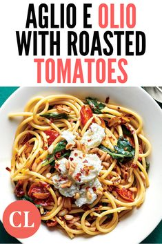 This pasta looks special, but it's doable for a weeknight dinner if you roast and refrigerate the tomatoes in advance. Cooking Light, Easy Cooking, Cooking Recipes, Vegetarian Recipes, Healthy Recipes, Healthy Food, Roasted Tomatoes, Light Recipes, Quick Meals