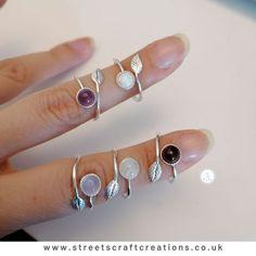 Adjustable Gemstone Rings by Streets Craft Creations     #gemstonejewellery #sterlingsilverjewellery Sterling Silver Jewelry, Gemstone Jewelry, Handcrafted Jewelry, Jewelry Crafts, Unique Gifts, Jewelry Making, Jewels, Gemstones, Accessories