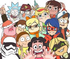 Miraculous LadyBug, Gravity Falls,Rick and Morty,Steven Universe and Star vs the Forces of Evil Art Gravity Falls, Desenhos Cartoon Network, Grabity Falls, Adrien Agreste, Cartoon Crossovers, Disney Crossovers, Fandom Crossover, Cat Noir, Disney Xd