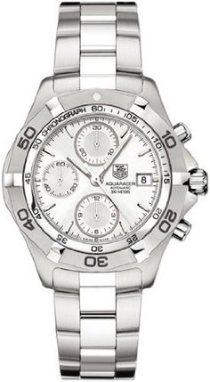TAG Heuer Men's CAF2111.BA0809 2000 Aquaracer Automatic Chronograph Watch TAG Heuer. $2195.00. Solid 42.5-mm fine-brushed finish stainless-steel case with screw-down caseback; Three link brushed and polished stainless-steel bracelet with diving extension. Chronograph functions with 12-hour, 30-minute, and seconds subdials; Date function at 3 o'clock. Water-resistant to 984 feet (300 M). Quality Swiss Automatic Movement; Functions without a battery; Powers automatically ...