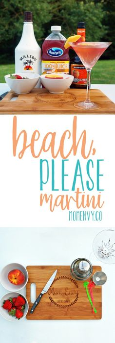 Beach, Please Martini from Mom Envy. Try this super easy cocktail recipe perfect for summer. This sweet summer cocktail is so simple and perfect to serve to your guests at a party or to enjoy on a warm night when you're dreaming of the beach. #drink #drinkinspiration #martini