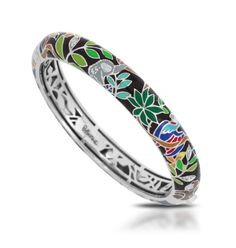 Rainforest Canopy Black Bangle by Belle Etoile. Colorful. Italian Enamel. Sterling Silver. Fashion Jewelry.