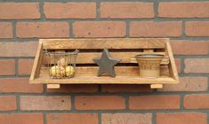 Tobacco Stick Lath Wood Shelf Wall Hanging by GrizzlyBearCreations
