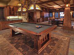 Custom Made Craftsman Style Claro Walnut Pool Table