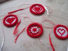 Martisor-martisoare/Valentine's Day/Christmas tree ornament/red and white/ clothing embellishement/handmade/round/cross stich by on Etsy Valentine Tree, Valentines Diy, Valentine Day Gifts, Christmas Deco, Christmas Tree Ornaments, Dorset Buttons, Cross Stitch Art, Plastic Canvas Crafts, Best Gifts