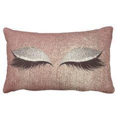 Name Metallic Glitter Rose Gold Eyes Makeup Lashes Lumbar Pillow