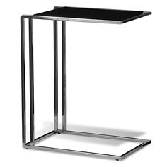 Fulham Side Table at www.moderndigsfurniture.com, with black or white glass top and chrome base