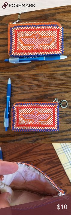 Patriotic beaded coin purse Good used condition. Inside is pretty clean, has a phone number lightly written inside lol has a keychain attached to the zipper. pen shown for size purposes. Anything $10 or under is the final price unless you ask for this to be bundled Bags Wallets