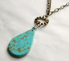 Turquoise Necklace  Vintaj Brass Chain Necklace   by AGemAmour, $28.00