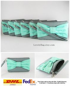 Hey, I found this really awesome Etsy listing at https://www.etsy.com/listing/172439494/super-sale-set-of-10-gray-with-mint-bow