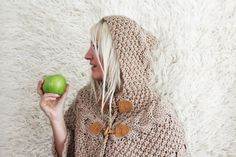 Hand Knitted Hooded Poncho Beige by LoveandKnit on Etsy, $125.00