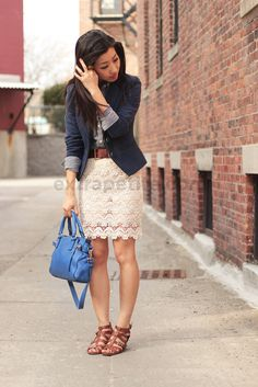 Extra Petite - Fashion, style tips, and outfit ideas Cream Lace Skirt, White Lace Skirt, Lace Dress, Extra Petite, Moda Petite, Spring Summer Fashion, Autumn Fashion, Summer Maxi, Lace Skirt Outfits