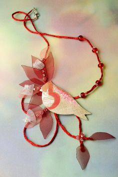 linen necklace fiber art jewelry romantic Red Robin by FiveOClocks, $43.00