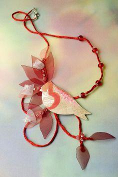 linen necklace fiber art jewelry romantic Red Robin by FiveOClocks, $43.00