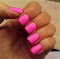 You can't go wrong with a simple square shaped nail and Barbie pink