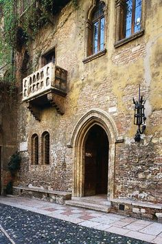 """""""But soft, what light through yonder window breaks? It is the east, and Juliet is the sun.""""  Juliet's balcony. Verona, Italy"""