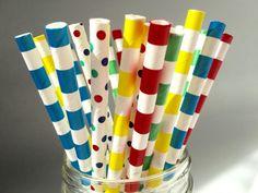 Paper Straws Lego assorted straws Lego Theme by ThePartyGnome