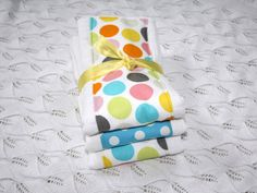 Baby Burp Cloths Set of 3 colorful dots by mypoplin on Etsy, $14.00