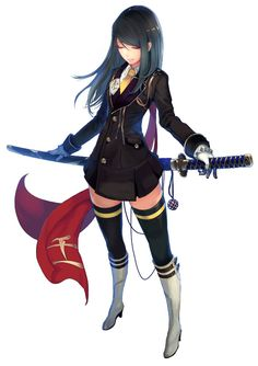 -barrier-:    (via 1girl akai katana black hair black legwear boots closed eyes garters gloves jpeg artifacts katana long hair miniskirt necktie saionji botan sheath sheathed simple background skirt solo sword tachikawa mushimaro thighhighs weapon white background zettai ryouiki)