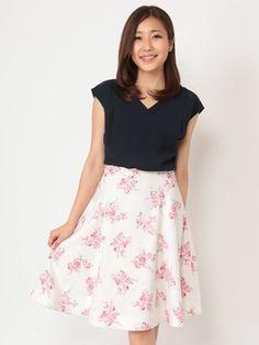 Fabulous Angela オリジナル花柄ミモレスカート