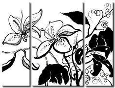 The painting for every flowers & art lover! Classy motif in colourless palette - available in two forms: print on canvas and handpainted painting 3 Piece Art, Online Galerie, Plant Drawing, Flower Prints, Lovers Art, Canvas Art Prints, Wall Art Decor, Moose Art, Hand Painted