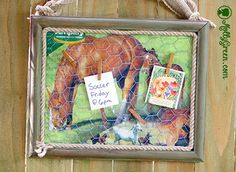Don't Throw It Away! Feed Sack Message Board  By: Holly Giles--I can come up with 101 things to do with an empty animal feed sack. They are so versatile and decorative. This DIY project is relatively simple, inexpensive, and a perfect gift! Most of the items I use came from my craft drawer, and the frame I picked up at a thrift store for $1. When I find a deal like that I try to grab several for projects just like this.