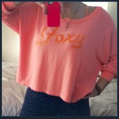 Wildfox 'Foxy' Flowy BBJ Super cute and comfy! Size S but cam easily fit a M or L. Awesome coral shade! Wildfox Tops Sweatshirts & Hoodies