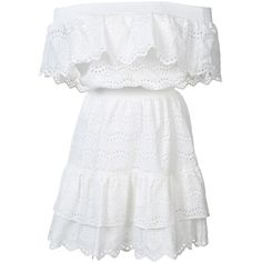 LoveShackFancy Off The Shoulder Ruffle Eyelet Dress (£285) ❤ liked on Polyvore featuring dresses, vestidos, white, kirna zabete, smocked dresses, eyelet dress, off the shoulder dress, white cotton dress and white day dress