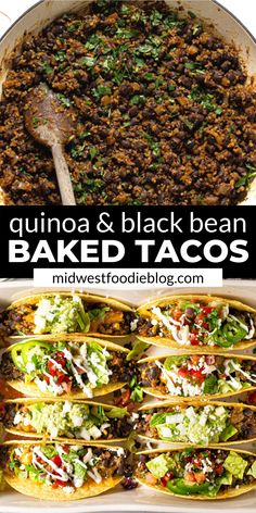 "These vegetarian black bean tacos are NEXT LEVEL! Black beans and quinoa combine with a signature taco spice blend for a seriously delicious ""meaty"" filling. Then they're smothered with cheddar cheese Tasty Vegetarian Recipes, Vegetarian Dinners, Veggie Recipes, Vegan Vegetarian, Mexican Food Recipes, Whole Food Recipes, Cooking Recipes, Healthy Recipes, Vegetarian Grilling"