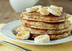 Fluffy Banana Pancakes recipe - Fluffy yet moist thanks to mashed banana mixed into the batter. Breakfast this weekend is made.