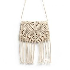 Yoins Beach Crochet Knotted Fringed Crossbody ($24) ❤ liked on Polyvore featuring bags, handbags, shoulder bags, yoins, beige, purse crossbody, fringe purse crossbody, white purse, purse shoulder bag and handbags shoulder bags