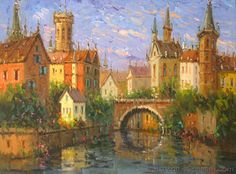 """Bruges Canal"" 30x40 in. impressionist oil painting by Mostafa Keyhani"