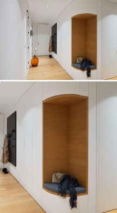 In this modern apartment, the designers removed a section of corner cabinets in the entryway to create a small bench seat where you can put your shoes on. Shoe Cabinet Entryway, Shoe Cabinet Design, Entryway Closet, Apartment Entrance, House Entrance, Flur Design, Multipurpose Furniture, Design Case, Hallway Decorating