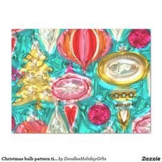 "Christmas bulb pattern tissue paper 15"" x 20"" tissue paper"