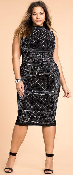 Plus Size Stud Sheath Dress