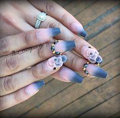 @thenailsqueen inspired 😍😍😍 #thenailsqueen #thenailsqueeninspired #longcoffinnails #longnails #naiswag #ombrefade #ombre #ombrenails #ombrénails #matte #mattenails #greynails #3d #3dnails #3droses #3dacrylic #nailrose #nails #swarovskinails #acrylicnails #acrylicfade #nailprodigy