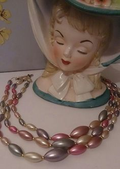 Vintage Faux Pearl 3 Strand Pastel Marquise Shaped Beaded Necklace, 1950's Original. £15 + p&p