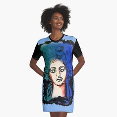 'Superhero ' Graphic T-Shirt Dress by FoxandtheCrow V Neck T Shirt, Shirt Dress, Woman Silhouette, Apparel Design, Chiffon Tops, Designer Dresses, Pop Culture, Classic T Shirts, Superhero
