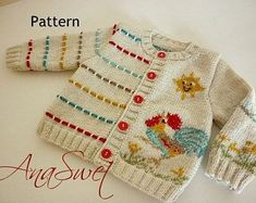 Pattern baby cardigan.Unisex baby cardian.Baby cardigan with Colorful rooster.PDF.PC011